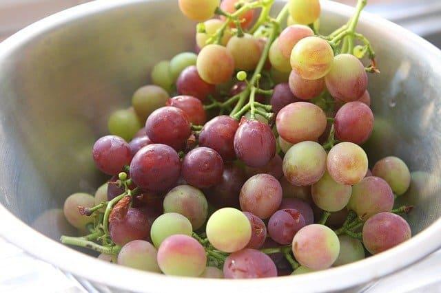 tigela com uvas